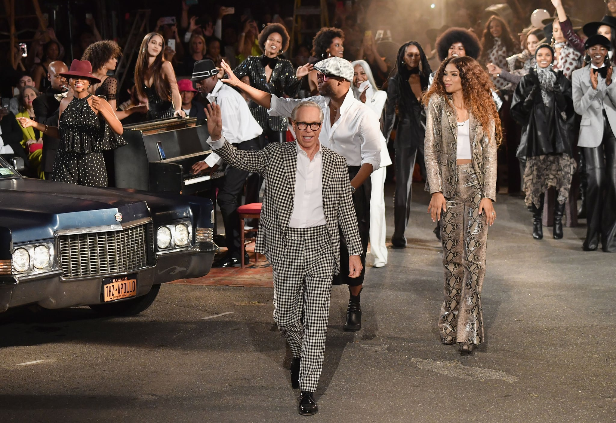Designer Tommy Hilfiger and actress Zendaya walk the runway at the Tommy Hilfiger TommyNow fall runway show at the Apollo Theatre on September 8, 2019 in New York City. (Photo by Angela Weiss / AFP)        (Photo credit should read ANGELA WEISS/AFP via Getty Images)