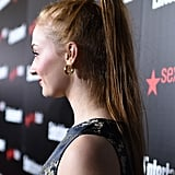 Sophie Turner's High Ponytail and Wrapped Hair Band, 2015