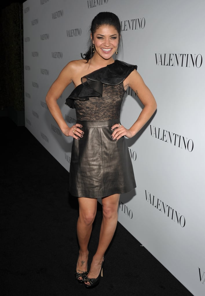 Jessica Szohr wore a lace and leather number to Valentino s 50th  anniversary celebrations in LA. 02c94a41a