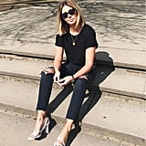 Keep It Simple With Ripped Jeans and a T-shirt
