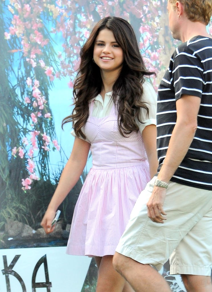 Selena Gomez was all smiles on set.