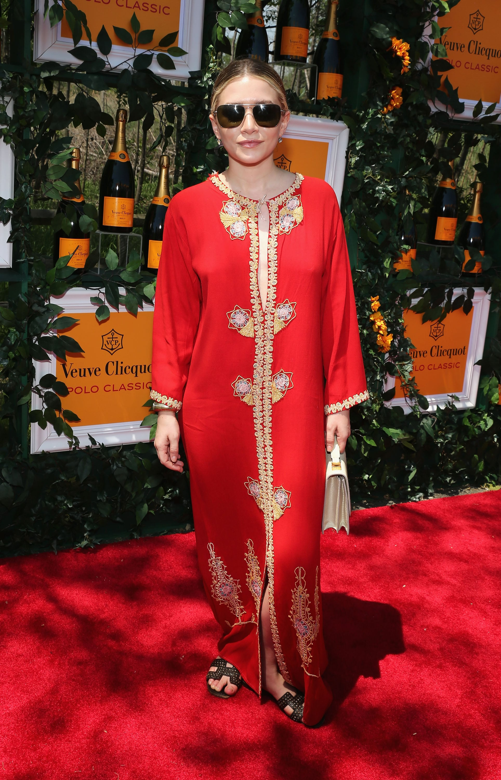 Ashley Olsen, in a vintage red caftan, at the sixth annual Veuve Clicquot Polo Classic in Jersey City, NJ.