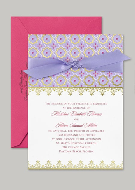 """This """"Exotic Romance"""" Jasmine-inspired stationery features purple and fuchsia with gold foil accents and a Middle Eastern pattern."""