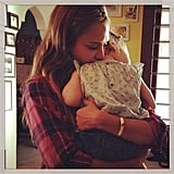 It was a sweet homecoming for a cozy, casual, plaid-clad Jessica Alba.  Source: Instagram user jessicaalba