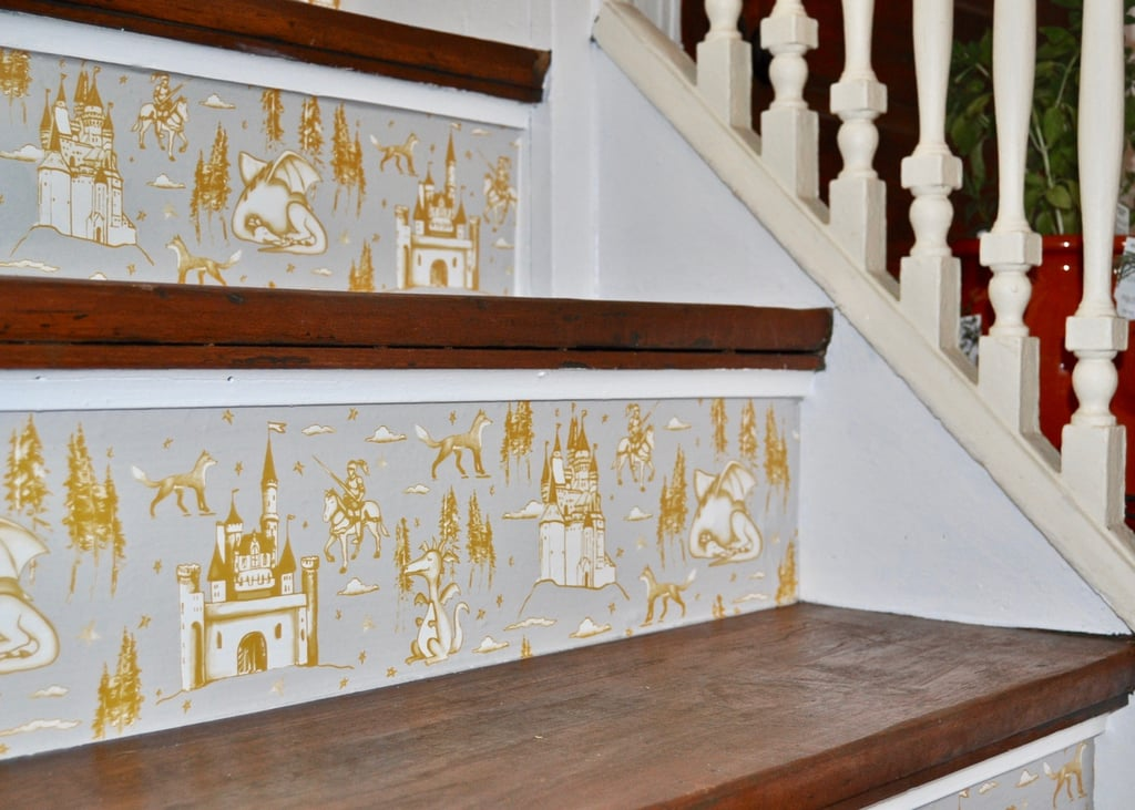 After: Medieval Toile Stairs
