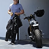 Orlando Bloom sported a gray shirt as he left the gym in West Hollywood.