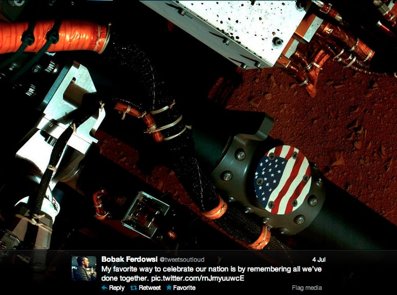 Mars Curiosity rover flight director Bobak Ferdowsi honors America with an outer space tribute.