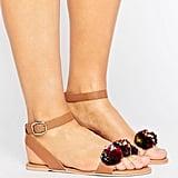 Asos Fanatic Leather Raffia Pom Flat Sandals