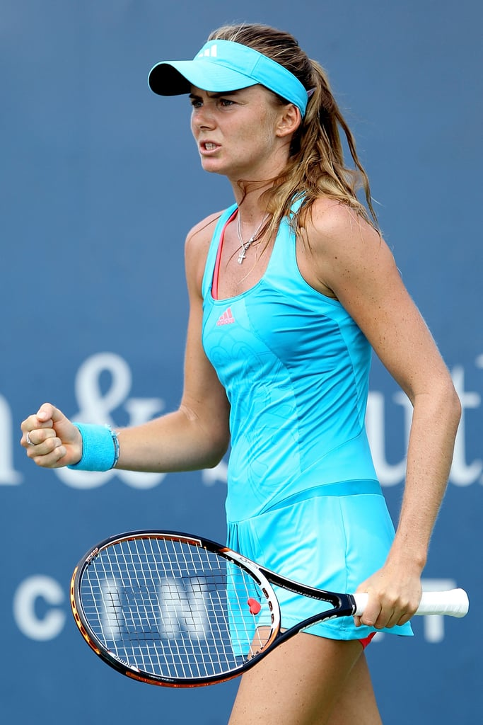 daniela hantuchova celebrates match point during the