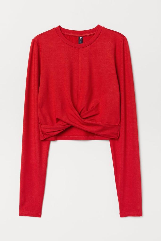 Short Knot-detail Jersey Top