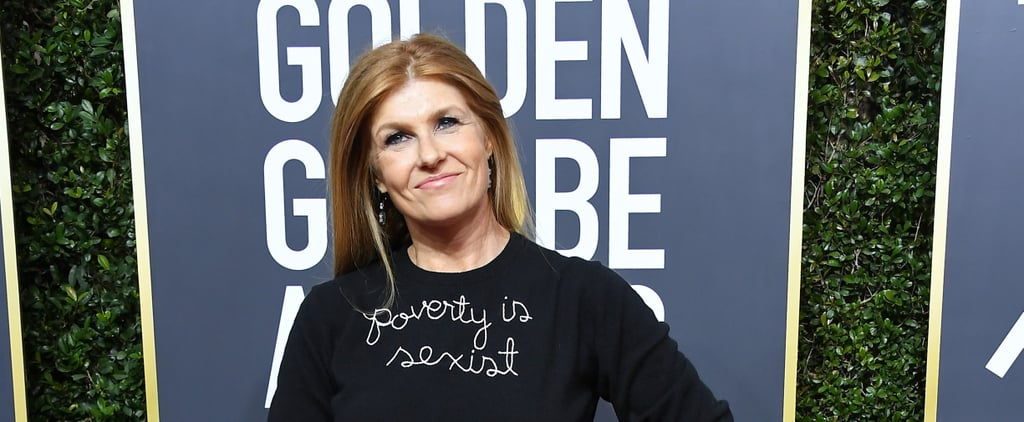 "Connie Britton ""Poverty Is Sexist"" Sweater at Golden Globes"
