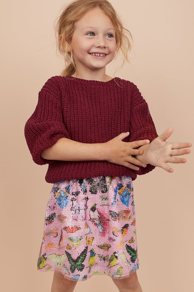 H&M Patterned Sequin Skirt and Knit Sweater