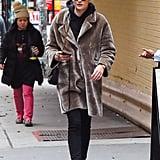 Sophie Turner in a Fur Coat in 2018