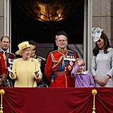 Kate Middleton, Prince William, Prince Charles, Prince Philip, and Queen Elizabeth got together on the balcony for the Trooping the Colour ceremony in London.