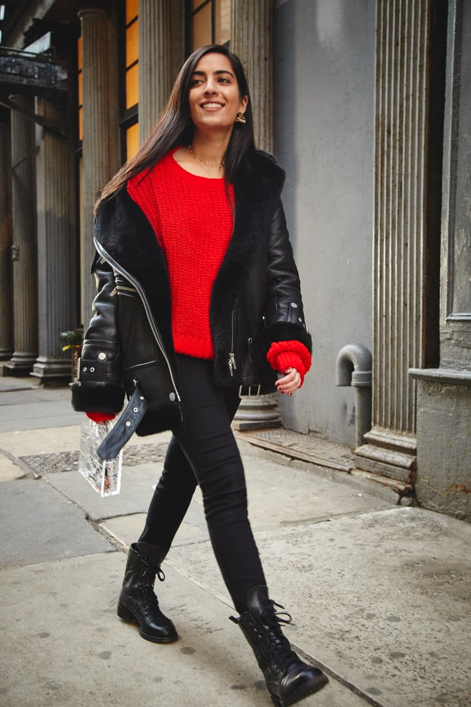 On Assistant Editor Nikita Ramsinghani: The Arrivals jacket, H&M sweater, Frame jeans, Chanel boots, Adornmonde rings, and L'afshar bag.