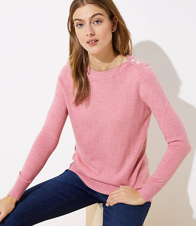 Shoulder Button Tunic Sweater