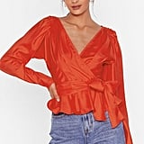 Tied Up Pleated Wrap Blouse