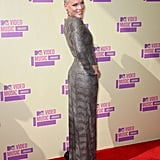 Pink showed off her fit figure in her dress.