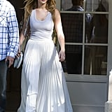 Jennifer Lawrence wore a maxi skirt.
