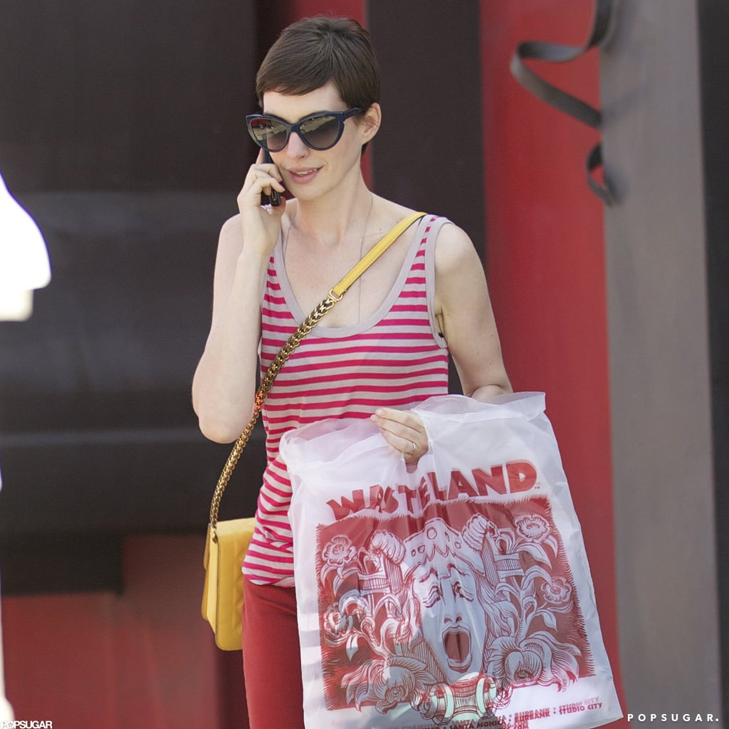 Anne Hathaway made a purchase at Wasteland on Melrose.