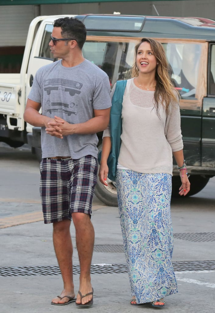 Jessica and Cash took a stylish St. Barts stroll together — we adore Jessica's floral Tory Burch maxi skirt and blue studded sandals. To get the look, pair this floral maxi skirt ($46) with these blue studded sandals ($21, originally $69).