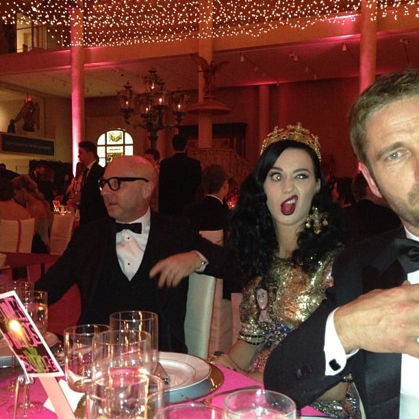 Katy Perry made funny faces at Gerard Butler inside the Met Gala. Source: Instagram user stefanogabbana