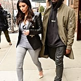On a trip to NYC, Kim dressed up denim, and Kanye dressed down his.