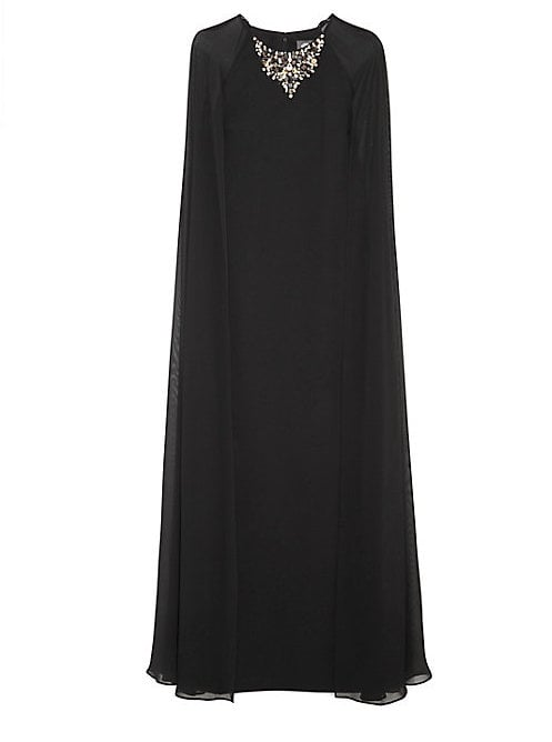 Vince Camuto Jeweled Neck Chiffon Cape Gown ($268) | Kim ...