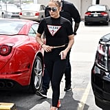 Jennifer Lopez Wearing a Guess T-Shirt With Engagement Ring