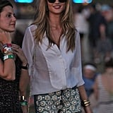 Rosie Huntington-Whiteley wore a pair of cutoffs with daisey's to weekend two of Coachella.