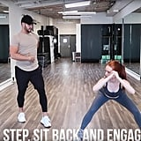Next up, do side steps with one leg to sit into a wide P.stance, making sure to really sit back while doing so.