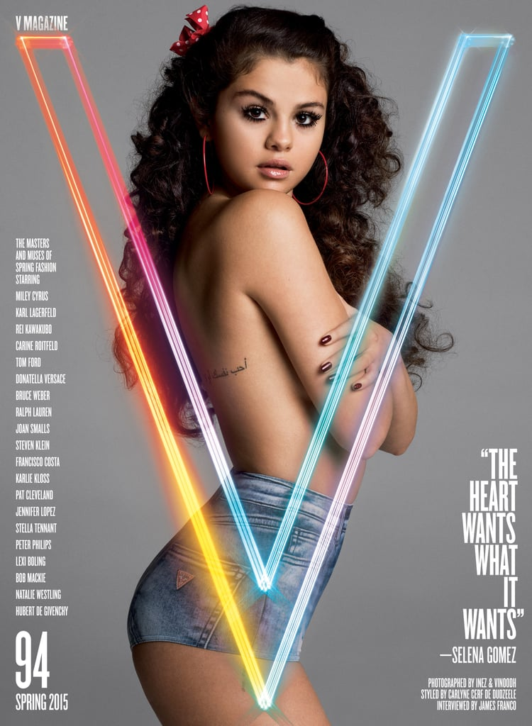 """Selena Gomez gets candid in the new issue of V Magazine, talking about everything from her past relationships to how she dealt with anxiety. Selena was interviewed by her Spring Breakers costar James Franco, and although she doesn't mention her ex Justin Bieber by name, she does seem to give a nod to their relationship, saying, """"I think the next time [I have a boyfriend] will be much different."""" She added, """"I was 18 years old, and it was my first love. The older I get, I'm guarding certain things more . . . When you're young and you're being told so many different things . . . It almost felt like all we had was each other, like the world was against us, in a way. It was really weird but it was incredible."""" Any regrets? Doesn't sound like it. Selena said, """"I would never take it back in a million years. You live and you learn, you know?"""" The 22-year-old star also spoke about dealing with the spotlight, saying there were a few months when she was """"a little depressed."""" Selena explained, """"I wouldn't leave [my home] as much. I think I drove myself crazy a little bit. It was just easier to say, 'Hey, do you mind running to the grocery store and picking some stuff up? I don't want to get photographed.'"""" That feeling seems to be fading, though, as she's optimistic about 2015. """"I think this year is going to be incredible,"""" she said. """"I feel the best I've ever felt in my life. I'm super stoked that I've got some bumps on me, some scars, some bruises. I actually really love that. And I don't mean that in a morbid way."""" As for gossip or rumors, Selena isn't too worried about that, and she doesn't read anything about herself anymore. The star said, """"I don't spend my time tiptoeing around certain things, because the things I'm going to do aren't bad. I'll be 23 soon and I could go to a bar or go to the movies. I could do what I like."""" Check out pictures of Selena Gomez through the years, then keep reading to see more photos from her feature in the new issue of V Magazine."""