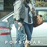 Gerard Butler kissed his girlfriend, Morgan Brown, on a coffee run in Malibu, CA, on Sunday.