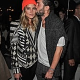 Dree Hemingway gave us two statement pieces to obsess over — her sparkly two-toned Balmain jacket and that vibrant orange beanie.