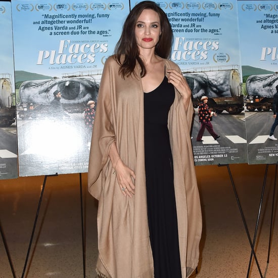 Angelina Jolie Wearing a Shawl at Faces Places Premiere