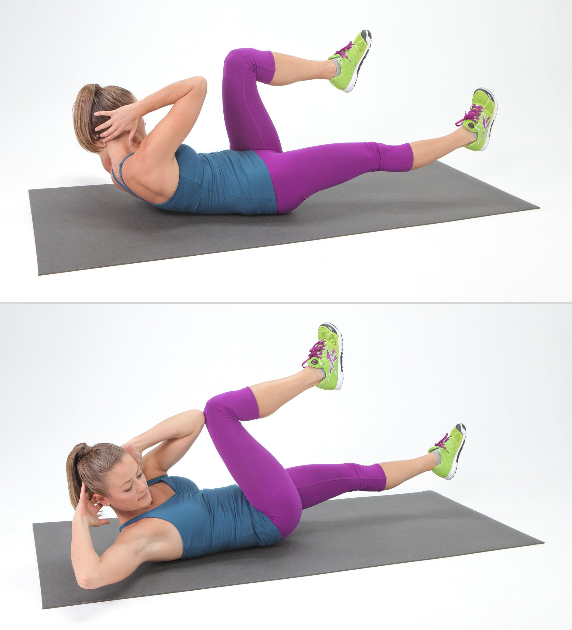 Bicycle crunches get a complete ab burn with this quick for Floor ab workouts