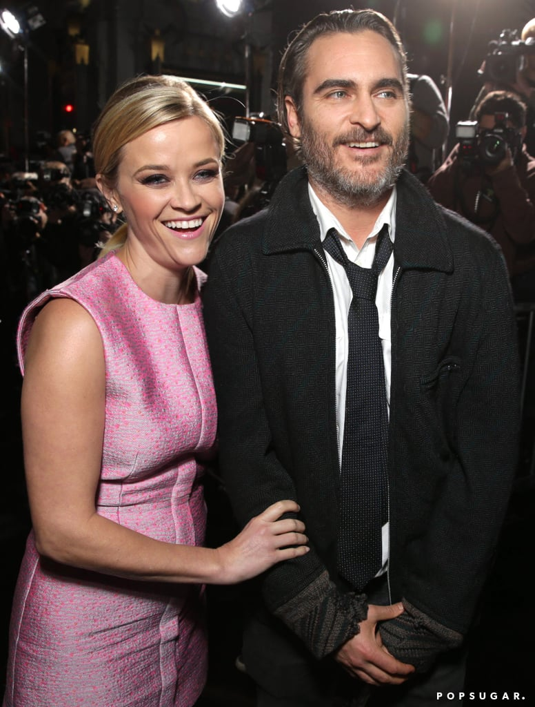 Reese Witherspoon joined her Inherent Vice costars on the red carpet at the film's LA premiere on Wednesday night. She posed in a pink dress alongside Maya Rudolph, Benicio Del Toro, and Joaquin Phoenix. Reese and Joaquin share the big screen once again in Paul Thomas Anderson's latest film, which comes out on Friday, after they starred together in 2005's Walk the Line. That project helped Reese pick up multiple awards including the Golden Globe for best actress, and she might take home the honor once again since it was just announced that she's nominated for a Golden Globe for her role in Wild. Joaquin is also up for best actor for Inherent Vice — check out all the Golden Globe nominations here! Joaquin is also making headlines for more confusing antics; this time he revealed that he was engaged during a Monday interview with David Letterman but shared on Good Morning America on Tuesday that he lied to sound more interesting.
