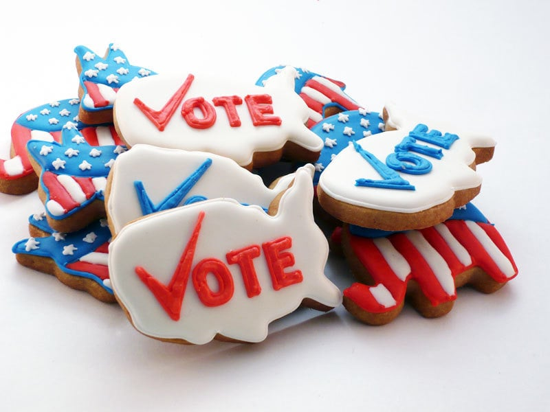 "Hosting a debate party? Serve these Decision 2012 Cookies ($26). You'll get four ""vote"" cookies, four Democratic donkey cookies, and four Republican elephant cookies."