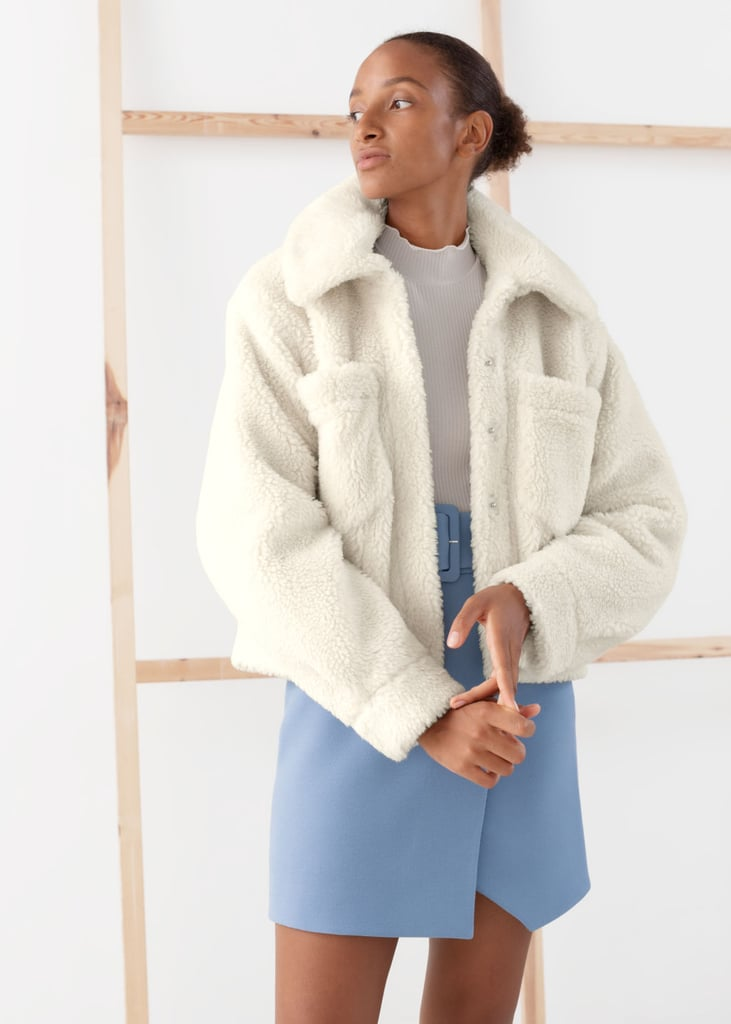 & Other Stories Faux Shearling Boxy Utility Jacket