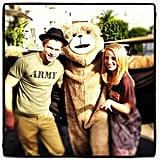 Glee costars Chord Overstreet and Diana Agron posed for a photo with director Adam Shankman, dressed as Ted. Source: Instagram user adamshankman