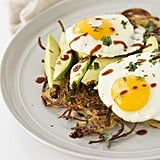 Spiralised Potato Breakfast Pie With Avocado and Fried Eggs