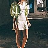 UO Lena Gingham Puff Sleeve Mini Dress