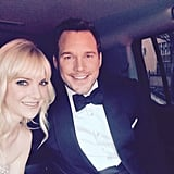 "Chris: ""It's raining in LA and we're on our way to the Oscars! Gonna be a #wetredcarpet!"""