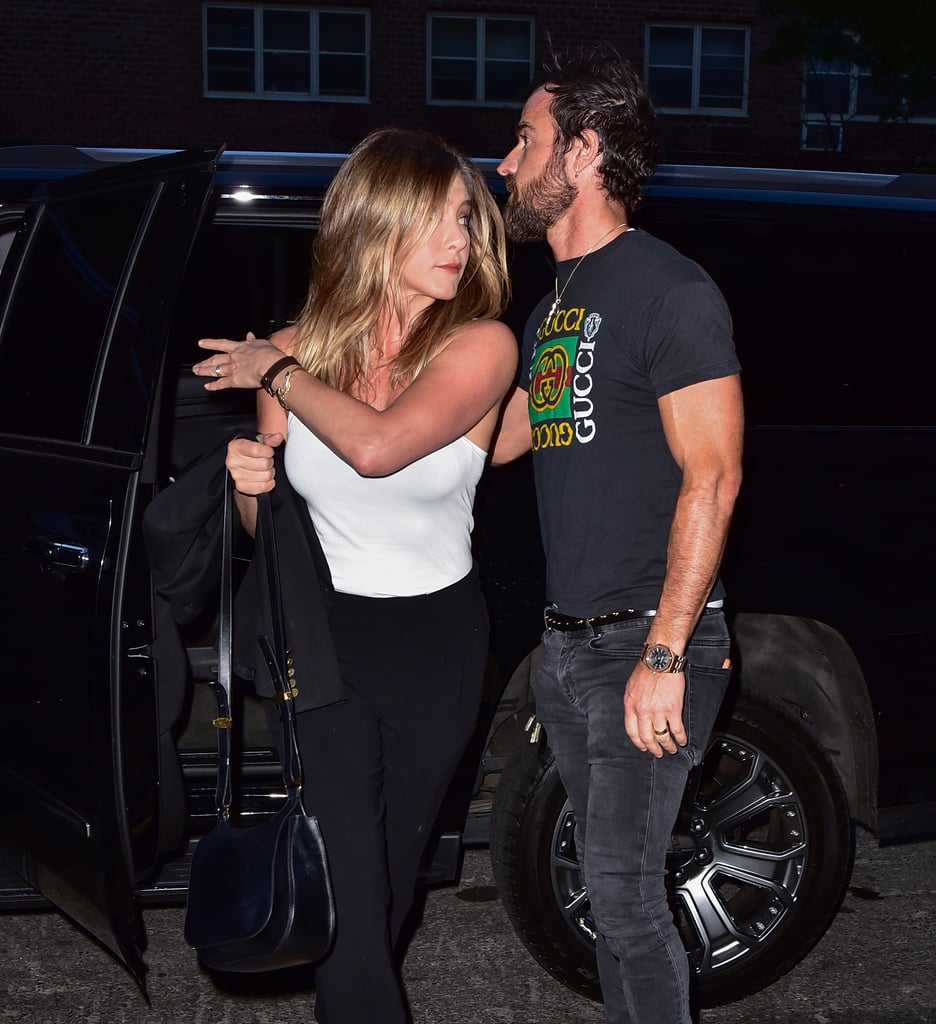 Jen Wore a White Tank Out For Date Night With Her Husband, Justin Theroux