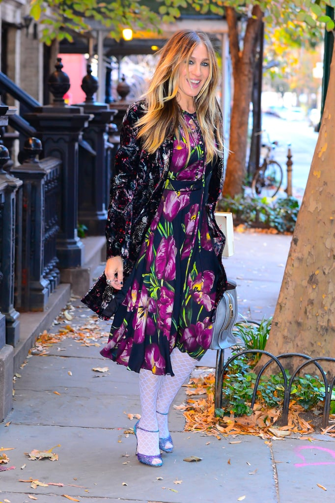 Sarah Jessica Parker Stepped Out Wearing Patterned White Tights