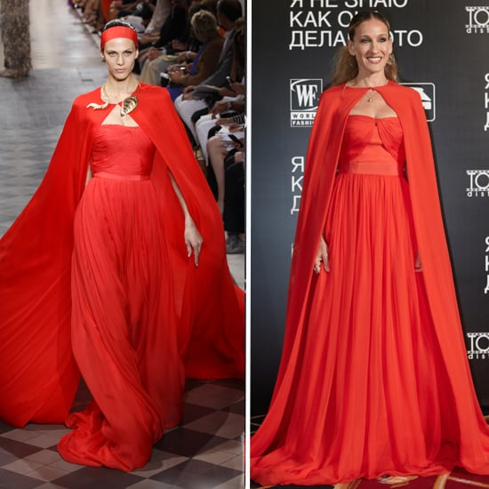 Sarah Jessica Parker's Red Giambattista Valli dress and Cape, do you rate it or hate it?