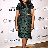 Mindy showed just a hint of skin in a Topshop crop top and skirt set at PaleyFest in March 2014.