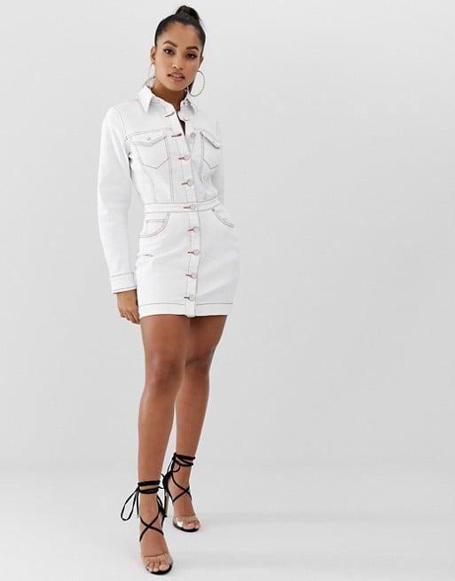 Missguided Petite Denim Shirt Dress in White