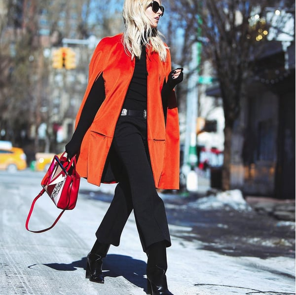 Wear All Black With a Pop of Color