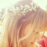 Lauren Conrad dressed up her braid with some delicate flowers. Source: Instagram user laurenconrad